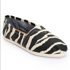 Toms Zebra Hemp Flats Slide Ons